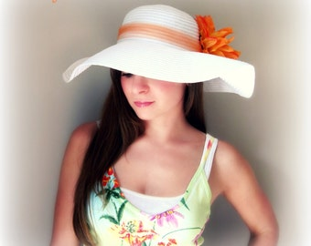 Tropic Beauty - White Floppy Hat with Big Bright Orange Flower for Kentucky Derby Race Church Wedding Beach or Garden Party