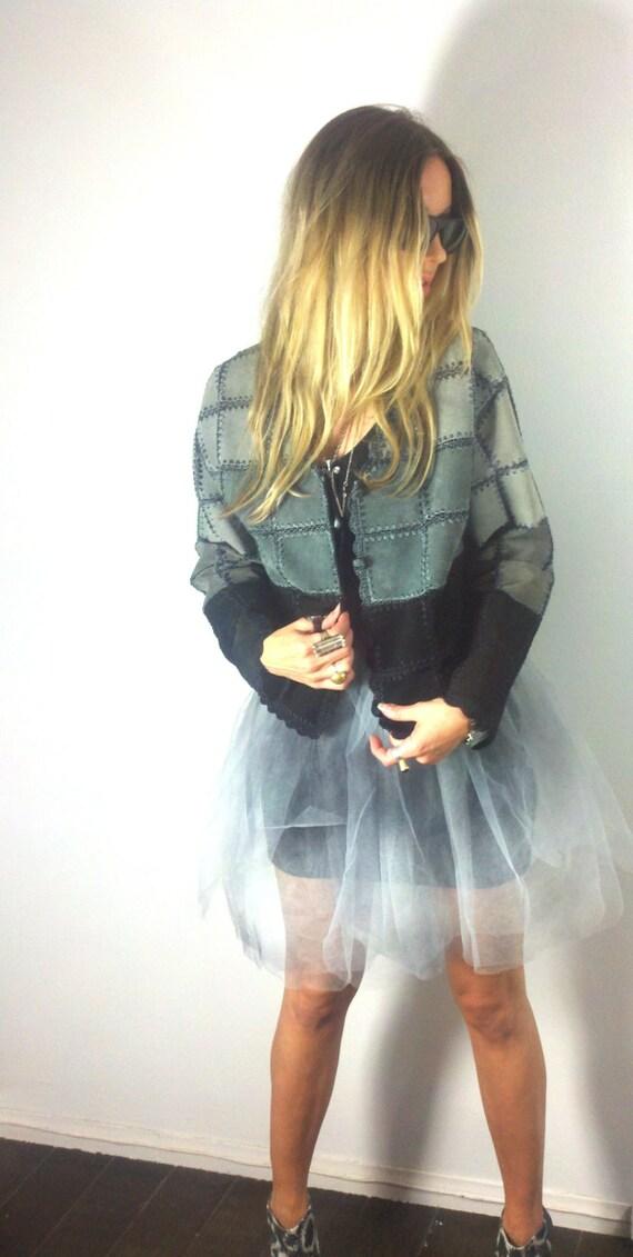 CLEARANCE Shades of Grey Black Ombre Vintage 80s Suede Gypsy Gray Boho Moto Jacket