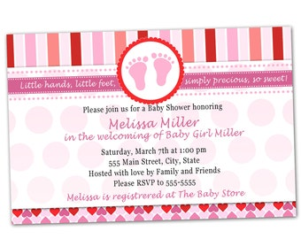Baby Shower Invitation Card - Pink Feet Red Hearts Stripes Girl Party Invite Printable Personalized