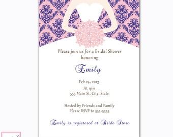 Damask Blue Pink Invite Navy Blue Pink Invitation Bridal Shower Invitation Sweet 16 Invitation Quinceanera Invitation Printable Invitation