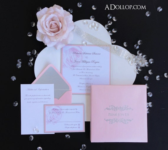 Unique Romantic Light Pink & Silver Sparkling Rose Boxed
