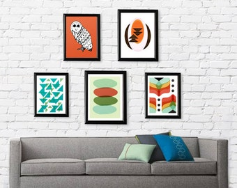 Mid Century Modern Pick Your 5 Prints // Gallery // Free Shipping