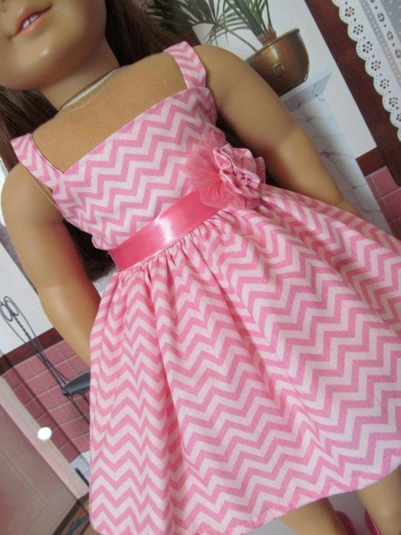 Chevron Striped Sundress,  18 inch Doll Clothes