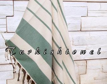 NEW-Turkishtowel-High Quality,Hand Woven,Natural,Organic,Cotton Bath,Beach,Spa,Yoga,Travel Towel or Sarong-Cream,Emerald Green