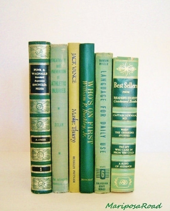 6 Vintage Green  Book Collection/ Interior Design/ Decorating with Books- Photography Props