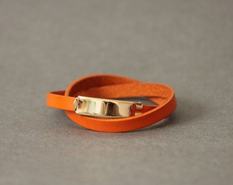 18k Gold Plated Closure Double Wrap Leather Bracelet(Orange)