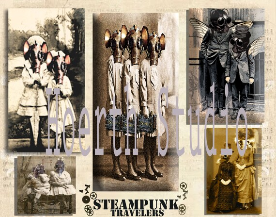 Steampunk Time Travelers Collage sheet Instant download craft supply