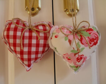 Cath Kidston Rosali Fabric & Red Gingham Check Hearts
