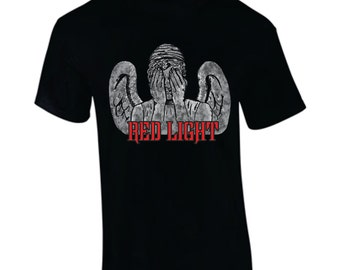 "Weeping Angel tee ""Red Light/Green Light"" Front and Back Hand-printed"