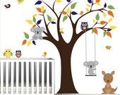 Vinyl Wall Decal Tree with Kangaroo,Koala bear,Owls,Birds-Children Wall Decal