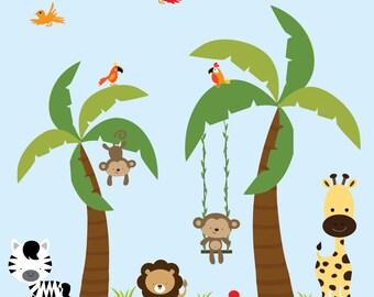 Children Vinyl Decal Jungle-Nursery Wall Vinyl Decals