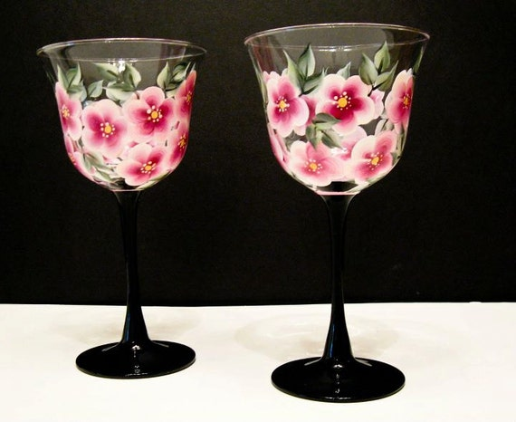 Hand Painted Wine Glasses, Pink Flowers and Black Stems