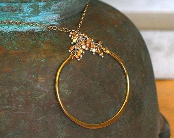 Modern Gold Circle Hoop Pendant on Chain Mixed Metal Necklace