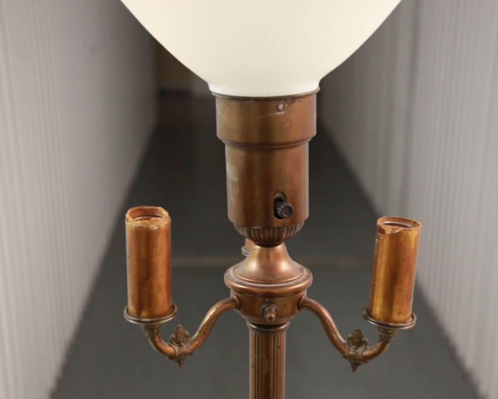 Art Deco Vintage Antique Brass Floor Lamp With Glass