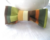 Colorblock Hair Bow - Large Fabric Hair Bow : Upcycled Cotton in Olive Yellow Rust and Brown on Hair accessory of your choice Eco Friendly - SewEcological