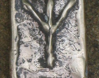 RUNES.Elder Futhark Rune of Protection ALGIZ.Bronze Rune Pendant.Organic Texture.Magical Rune.Magical Amulet.Viking Runes