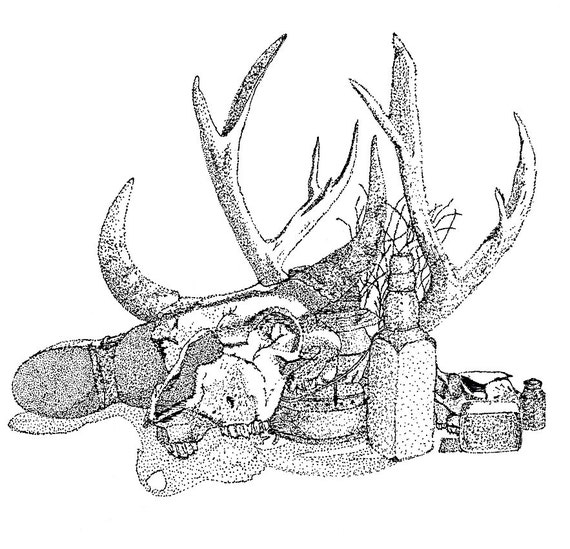 8x10 print of a Western stippled or pointilist still life