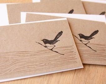 Australian Spring, Letterpress willie wagtail wren bird kraft with faux bois wood grain detail notelets notecard  x4 made in Australia