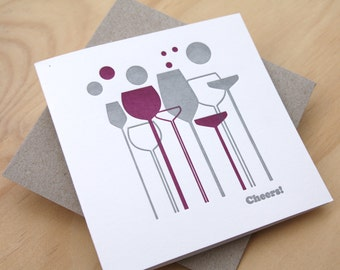 Mother's Day, Father's Day Cheers thank you letterpress card retro wine glasses radient orchid purple & silver made in Aus