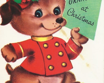 C429 Vintage Christmas Greeting Card - by Gibson - to grandpa