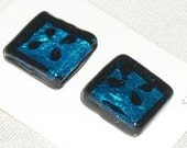 Blue Square Buttons... Set of 2