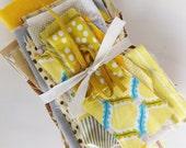YELLOW fabric scrap pack lotta jansdottir robert kaufman cloud 9 de-stash