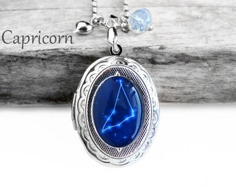 """Get 15% OFF - Handmade Resin """"Capricorn"""" Constellation Sign Silver Oval Locket Pendant Necklace - Labor Day SALE 2016"""