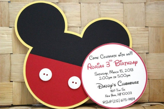 Handmade Mickey Mouse Invitations For Birthdays Baby – Handmade Mickey Mouse Birthday Invitations