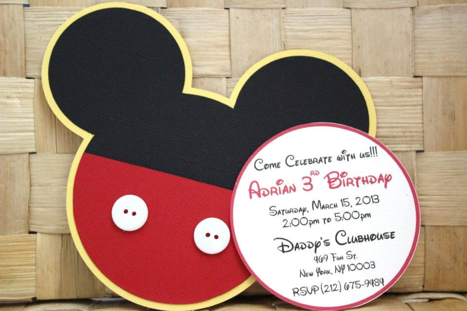 handmade mickey mouse invitations for birthdays baby