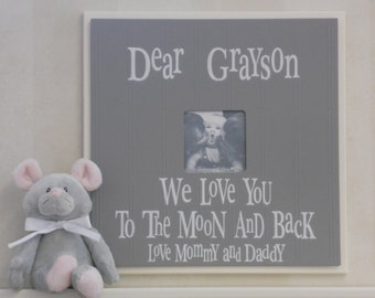 Gray Baby Boy Nursery - Love You To The Moon - Personalized Name Frame - Custom Photo Frame Wall Decor