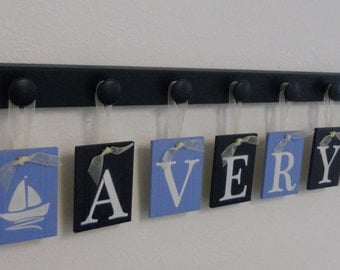 Sailboat Art Nursery, Baby Name Hanging Wall Letters includes Wooden Peg Hanger - Navy and Pastel Blue. A Gift for New Baby