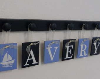 Sailboat Art Nursery, Baby Name Hanging Wall Letters Sail Boats and 7 Wooden Peg Hanger - Navy and Pastel Blue. A Gift for AVERY