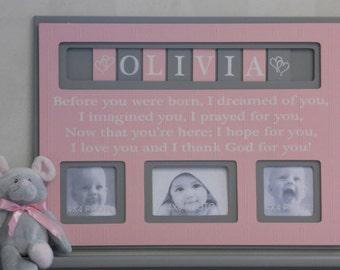 Pink and Gray Baby Girl Nursery Decor, Personalized Baby Picture Frame, Girl Nursery Decor Personalized, Custom Children Photo Frame  - Pink