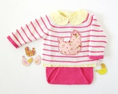 Knitted striped sweater and diaper cover in pink with chicken. 100% cotton. READY TO SHIP size newborn.