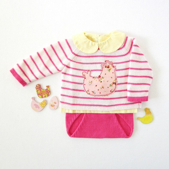 Knitted striped sweater and diaper cover in pink with chicken by Tenderblue