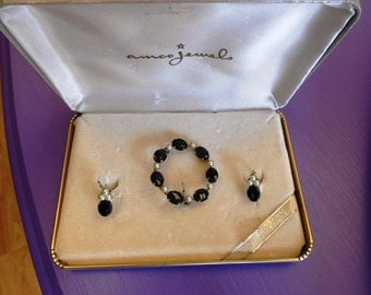 Vintage Amco Jewels Brooch and Earrings Set with 14k Gold Overlay, Onyx and Cultured Pearls