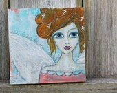 ORIGINAL Mixed Media Angel Painting on wood - Ready to Hang - Aqua and Coral - Whimsical Portrait with Textured Wings