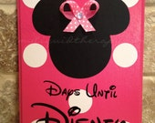 Disney Countdown Bright Pink Minnie, with Bow, Disney World Vacation Chalkboard Countdown Calendar (Made to Order)