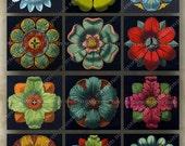 Victorian Rosettes Antique Floral Patterns Vintage Squares Digital Collage Sheet Instant Download DIY Printable 009