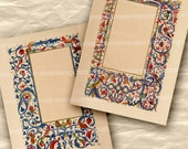 Medieval Illuminated Manuscript Pages Full Size with Borders Scrolls Grotesques Patterns for Wedding Invitations Letters  Decoupage 419
