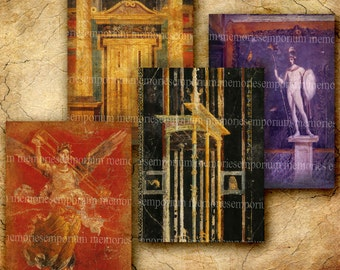 Ancient Rome Painted Frescoes ATC ACEO size Roman Fresco Art Backgrounds Greek Decoupage Paintings Digital Collage Sheet Download 194