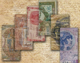 Shabby Chic French Paper Money Old Currency 1 x 2 inch Domino Jewelry Bezels Pendant Digital Collage Sheet Download 139