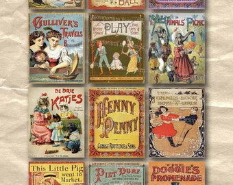 Childrens Story Book Covers Old Vintage Kids Picture Scrapbooking Decoupage Digital Collage Sheet Instant Download 037