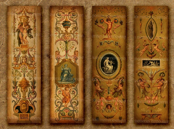 Antique Panels Bookmarks Seventeenth Century 17th Shabby Chic