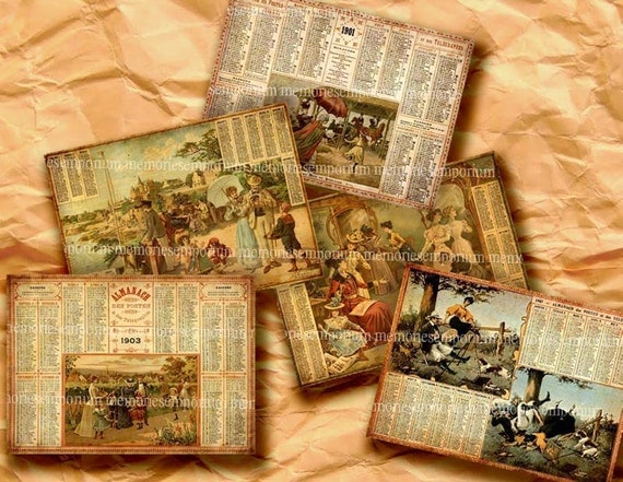 Old French Almanacs Early 1900s  ACEO ATC Vintage Calendar Eclipses Seasons Decoupage Background Digital Collage Sheet Download 217