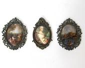 Vintage Mid Century set ornate Italian brass frame silk prints