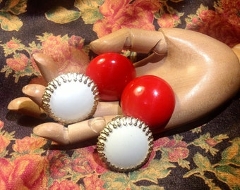 Clip On Button Earrings Two Pair Classic 1950s 1960s