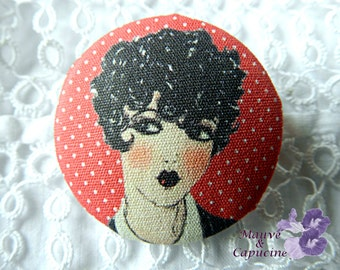 Fabric button,  printed retro woman, 0.94 in / 24 mm