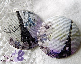2 fabric buttons, Paris retro, 0.94 in / 24 mm