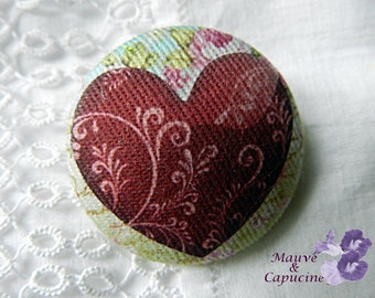 Fabric button, printed red heart